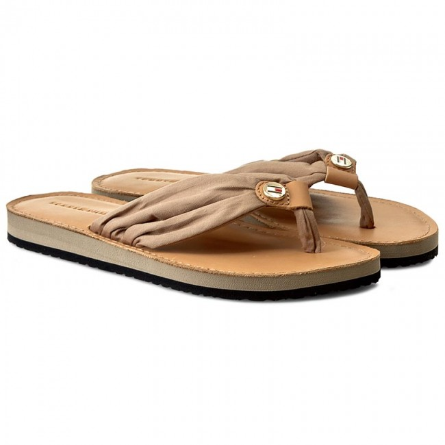 Tongs TOMMY HILFIGER - Leather Footbed Beach Sandal FW0FW00475 Cobblestone 068 - Tongs - Mules et sandales