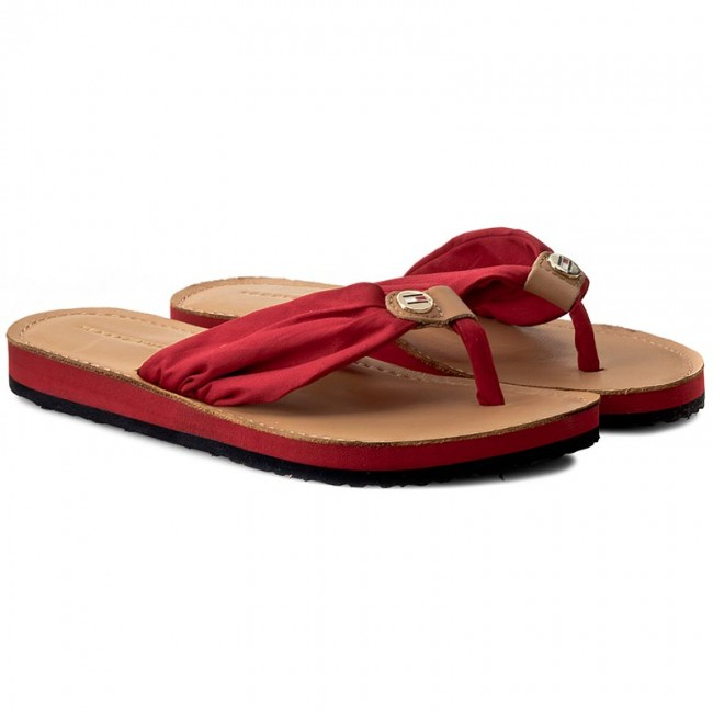 Tongs TOMMY HILFIGER - Leather Footbed Beach Sandal FW0FW00475  Tango Red 611 - Tongs - Mules et sandales