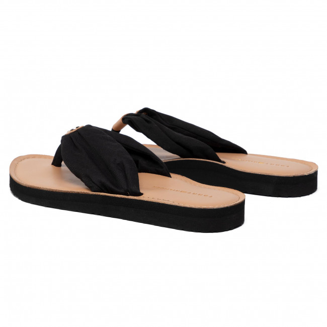 Tongs TOMMY HILFIGER - Leather Footbed Beach Sandal FW0FW00475 Black 990 - Tongs - Mules et sandales