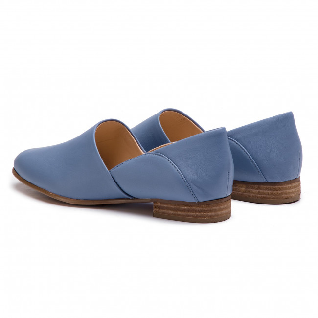 Chaussures basses CLARKS - Pure Tone 261396354 Mid Blue Leather - Plates - Chaussures basses