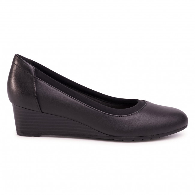 Chaussures basses CLARKS - Mallory Berry 261453344 Black Leather - Talons compensés - Chaussures basses