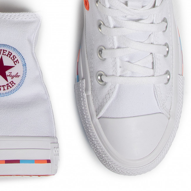 Sneakers CONVERSE - Ctas Hi 566718C  White/Rose Maroon - Baskets - Chaussures basses