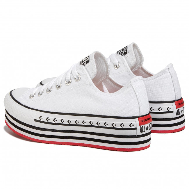 Sneakers CONVERSE - Ctas Platform Layer Ox 566762C White/Black/White - Baskets - Chaussures basses